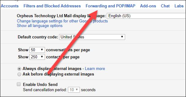 Click Forwarding on pop/IMAP