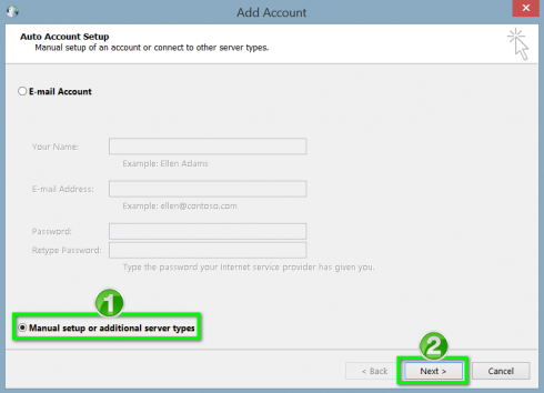 click on manual setting or additional server types