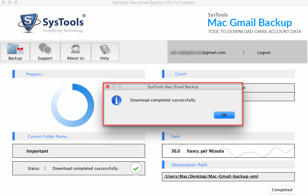 Gmail Backup Download Completed on Mac