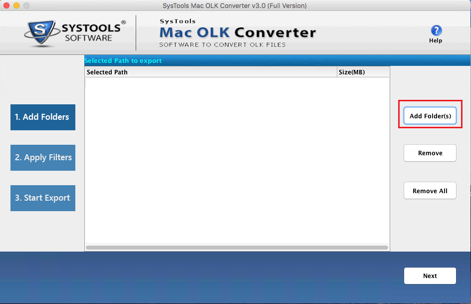 Add Mac OLK file and convert to PST